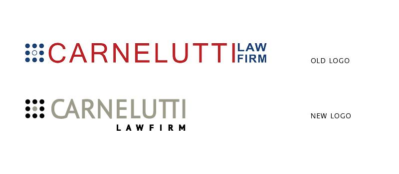Confronto fra il vecchio logo dello Studio Legale Carnelutti e il nuovo restyling realizzato da Eclettica Akura.
