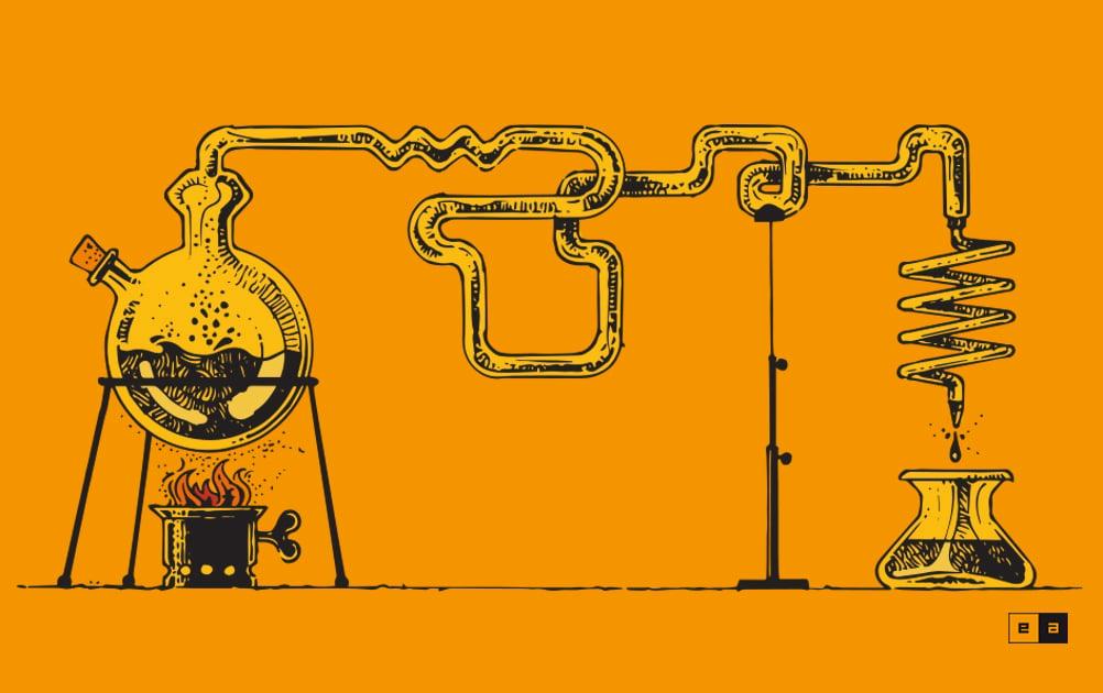 Illustrazione originale di un distillatore per contenuti di valore.